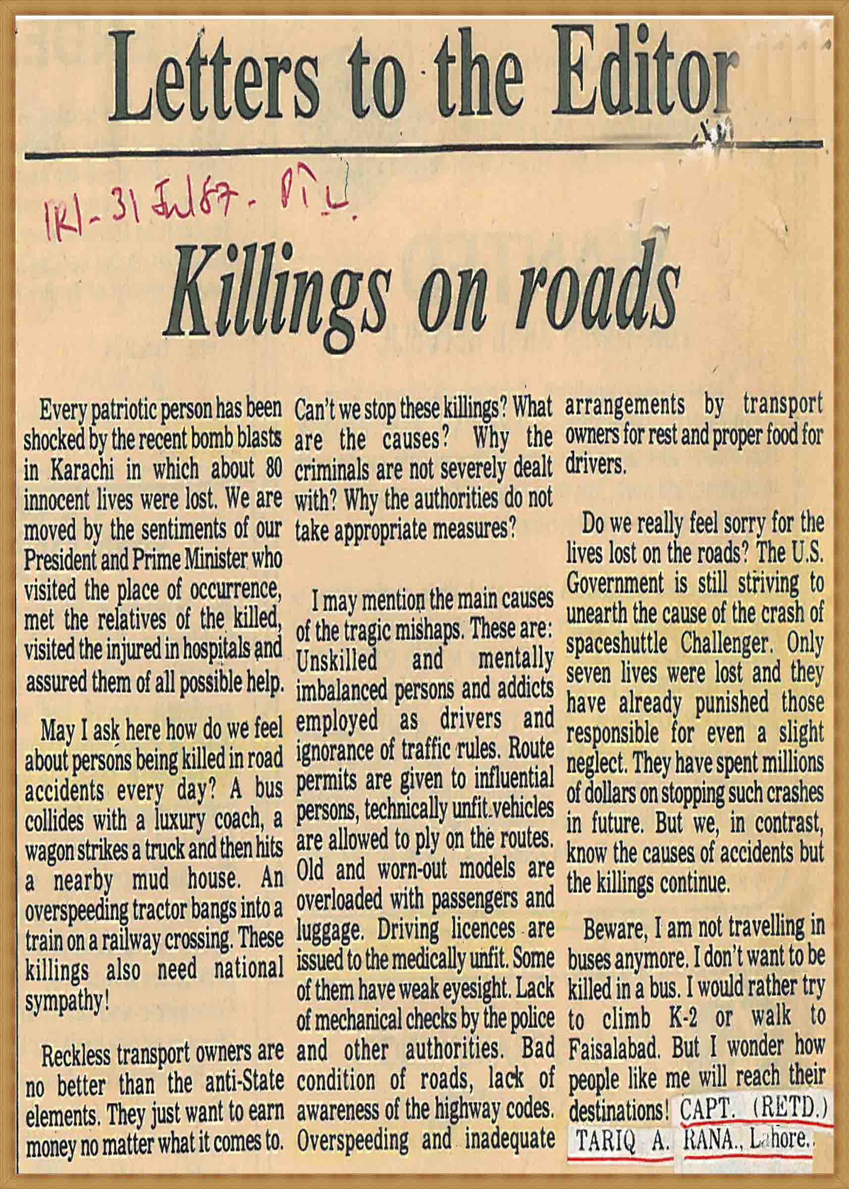 Letter to the Editor-Killings on roads (31-07-1987)