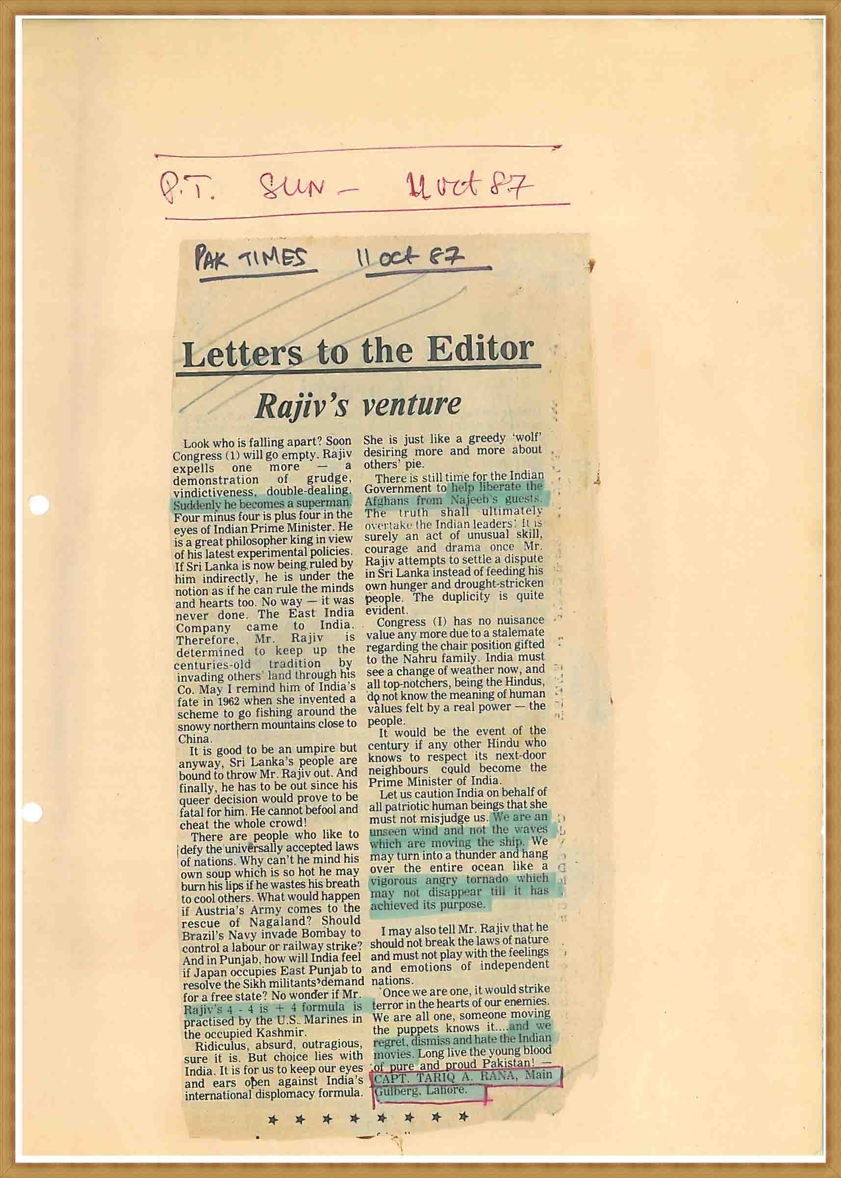 Letter to the Editor-Rajiv's venture(11-10-1987)