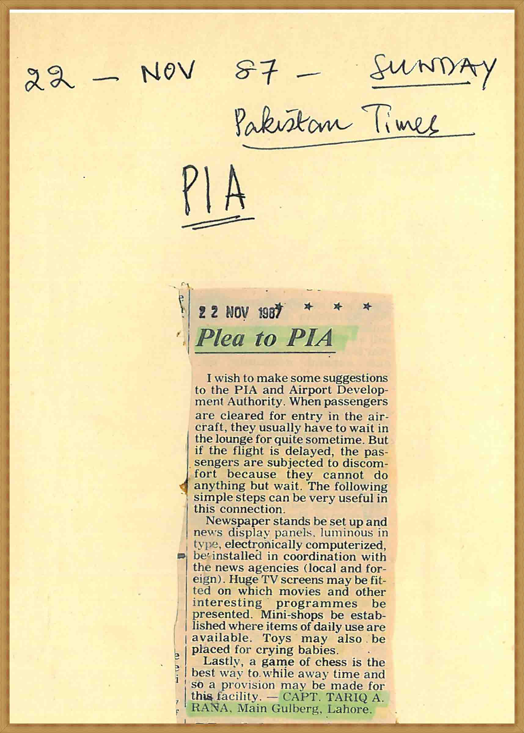Plea to PIA(22-11-1987)