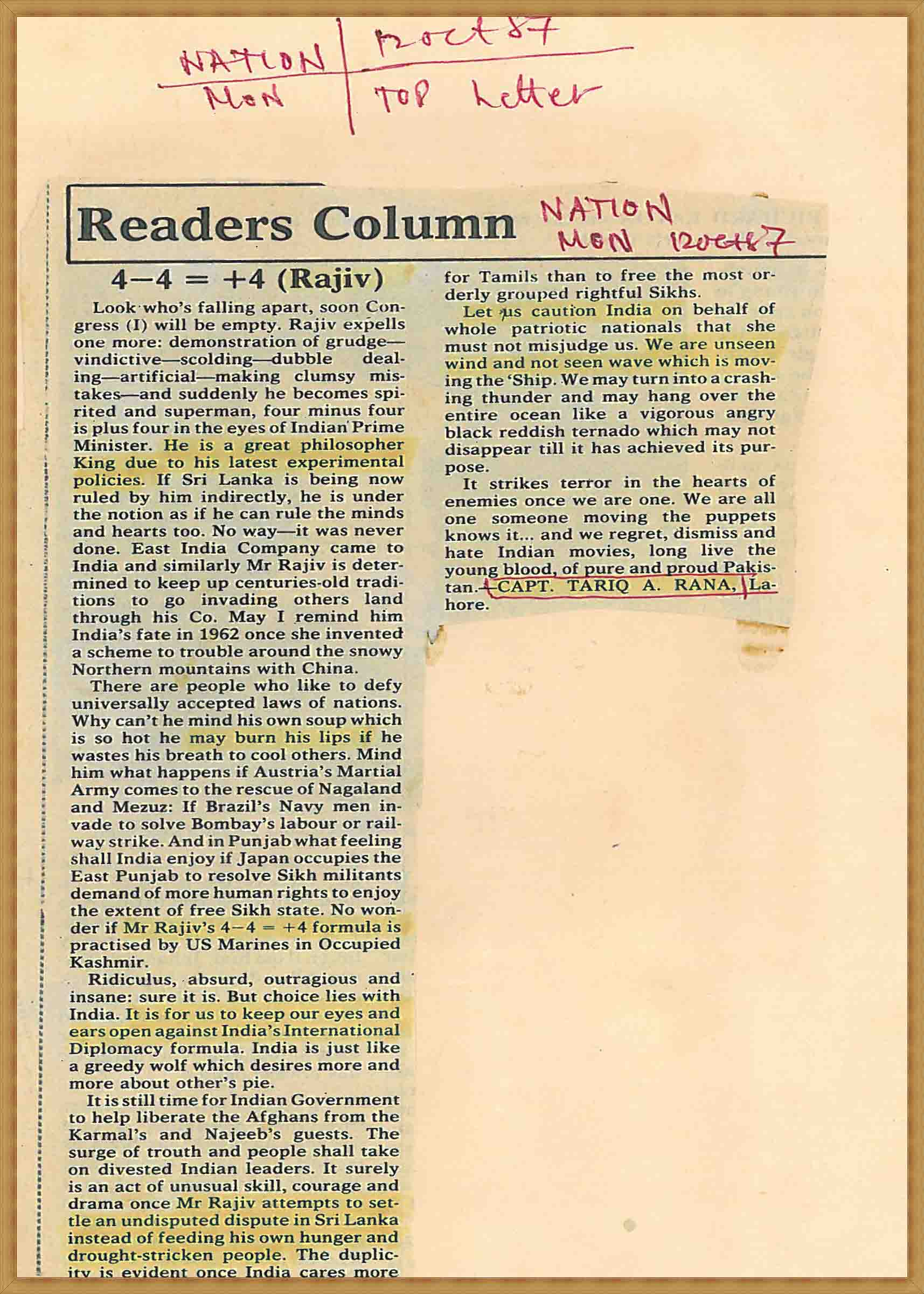 Readers Column 4-4=+4(Rajiv)(12-10-1987)