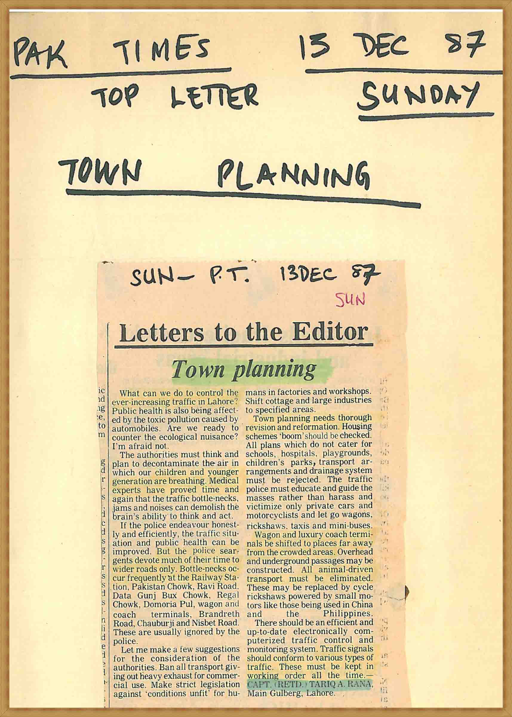 Town Planning(13-12-1987)